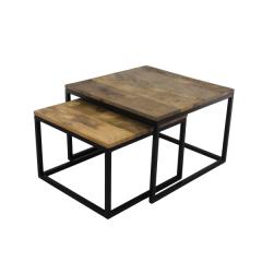 Set van 2 salontafels Meike - mangohout/ijzer