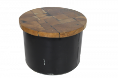 Salontafel Drum - black resin - teak / ijzer