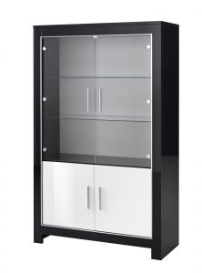 Vitrinekast Modena 4 deuren - zwart/wit