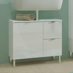 Wastafelonderkast Mauro 60cm met deur & 2 lades - hoogglans wit