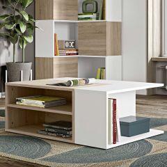 Table basse Cleo - blanc/chêne