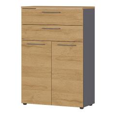 Lage archiefkast Osmond 80cm met 2 deuren & 2 open vakken - eik/grafiet