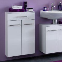 Armoire de salle de bains Small 50cm 1 tiroir & 2 portes - blanc brillant