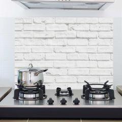 Muursticker White Bricks achterwand keuken