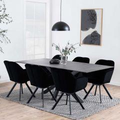 Table à manger Hennie 200x100 céramique - noir