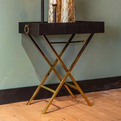 Table d'appoint plateau Dirar - noir/or
