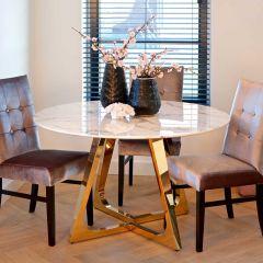 Table à manger Dynasty Ø130 - marbre/or