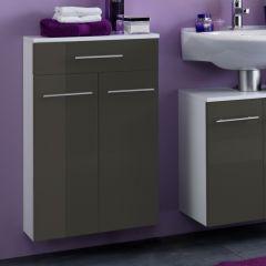 Badkamerkastje Small 50cm 1 lade & 2 deuren - hoogglans grijs