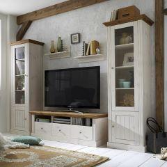 Armoire vitrée Edmund avec 2 portes - blanc/provence