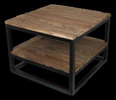 Table basse avec plateau - bois ancien / fer forgé