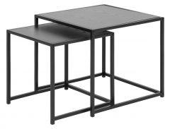 Set de 2 tables d'appoint Dover industriel - noir