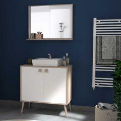Badkamerkast Anthony 80 cm met 2 deuren & spiegel - eik/wit