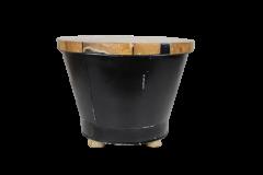 Salontafel Emmer - black resin - teak / ijzer