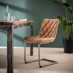 Lot de 2 chaises cantilever Guido - brun
