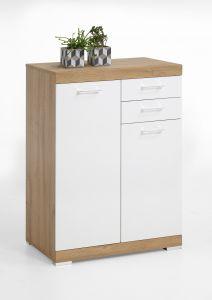 Commode Cristal 2 portes et 2 tiroirs 80x110x50 - chêne vieilli/blanc brillant