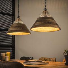 Hanglamp 2xØ40 houten kap - Massief mango naturel
