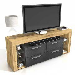 Tv-meubel Vidi 180 cm - oude eik/donker
