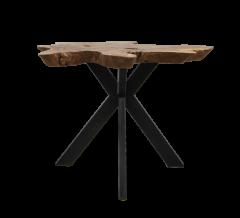 Salontafel Victoria - ø60-70x53 cm - teak / ijzer