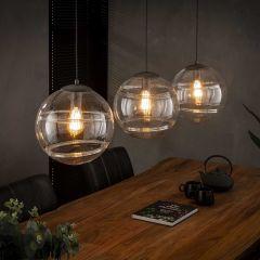Hanglamp 3x Ø30 bol helder glas - Oud zilver