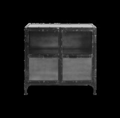 Petite vitrine Brooklyn 90cm - acier naturel/verre