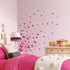 Muurstickers Pink Flutter Butterflies
