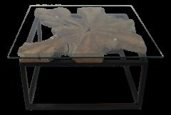 Table basse - 70x70 cm - teck  /  fer