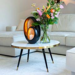 Table basse Delia Ø80 - marbre blanc/noir/or