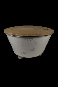 Salontafel Baskom - white wash - ijzer / teak