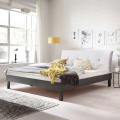 Tweepersoonsbed Bastos 160x200 met blokpoten - beige/grijs