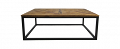 Salontafel Mozaiek - 110x70 cm - naturel wax / zwart - teak / ijzer