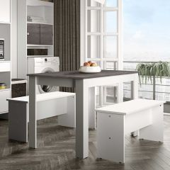Table à manger Nice avec bancs - blanc/béton