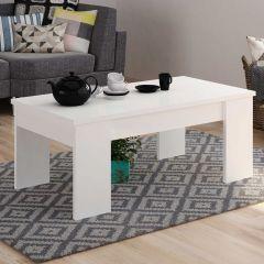 Table basse Ramos avec plateau relevable - blanc brillant