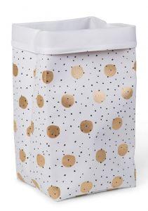 Panier en toile 32x32x60 - gold dots