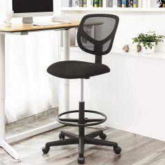 Chaise de bureau haute avec repose-pieds circulaire Ines - noir