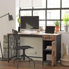 Bureau Jerry 130cm 1 tiroir 1 porte - brun rustique/noir