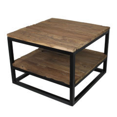 Salontafel Dens 60x60 met onderplank - oud hout/ijzer