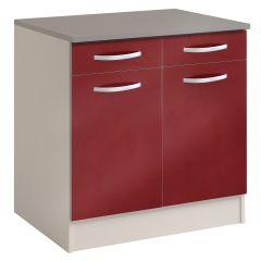 Onderkast Spoon 80 cm met 2 laden en 2 deuren - glossy red
