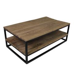 Table basse Dens 120x70 avec tablette - bois/fer
