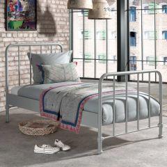 Lit simple Bronxx métal 90x200 - gris mat