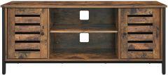 Tv-meubel Lance 110cm 2 deuren 2 vakken - rustiek bruin/zwart