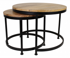 Table basse Steal - ø60 cm - bois de manguier / fer - ensemble de 2 - naturel