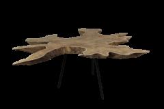 Table basse Root - ø80-90 cm - vieux teck / métal