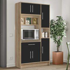 Keukenkast Louise voor magnetron - eik/zwart