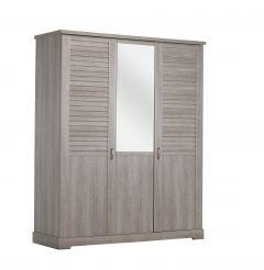 Armoire Wanda 170 cm 3 portes  & miroir - chêne cérusé