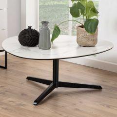 Table basse Bartos 100x95 céramique - blanc/noir