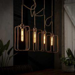 Hanglamp 4x H31 cm twist zandg. Alu - Antiek koper finish