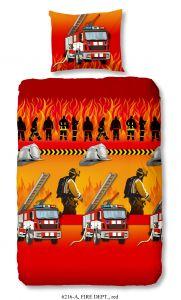 Dekbedovertrek Fire Dept 140x220 - rood