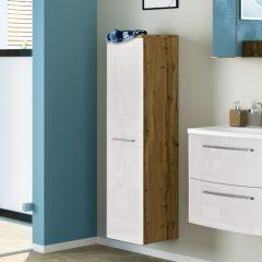 Kolomkast Gene 30cm 1 deur - wotan eik/hoogglans wit