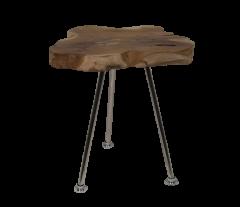 Salontafel Root - ø30-40 cm - oud teak / RVS