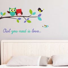 Muursticker Owl you need is love - Large